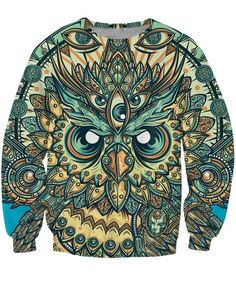 God Owl of Dreams Psychedelic Illustration Design Green 3D Sweatshirt