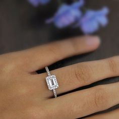 0.7 Carat Center Halo Engagement Ring-Emerald Cut by Besbelle