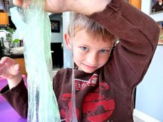 Easy slime recipe ... kids absolutely love playing with this stuff!!  A great summer activity for the backyard or summer camp!