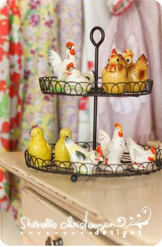 Great way to display my little chicken salt and pepper shakers.