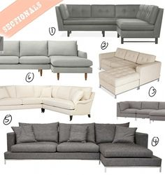 Searching for a modern looking sectional w/ chaise without tons of pillows stuffed all over it. Like these ideas