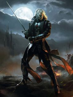 m Half Drow Elf Fighter Eldritch Knight Plate Armor Sword hidden demon Conifer forest Hills farmland Night full moon Clouds Sorin Lord of Innistrad by Chase Stone lg Fantasy Male, High Fantasy, Fantasy Warrior, Fantasy Rpg, Dark Fantasy Art, Medieval Fantasy, Fantasy Artwork, Dungeons And Dragons Characters, Dnd Characters