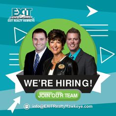 Welcome to EXIT Realty Hawkeye and the premier website for searching and finding homes in the greater Iowa City, Cedar Rapids, Grinnell and the surrounding. Hiring Poster, Exit Realty, We Are Hiring, Cedar Rapids, Join Our Team, Real Estate Search, Job Posting, Hawkeye, Iowa