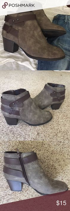 Brown low heel bootie Cute brown booties with buckles and side zipper. No flaws only worn once Charlotte Russe Shoes Ankle Boots & Booties