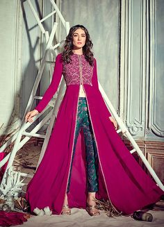 Pink and Green Embroidered Pant Style Anarkali