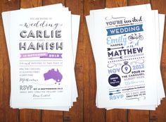 ►Invitaciones de boda marcadas, con un buen uso de la tipografía. #invitaciones #bodas