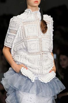Bora Aksu at London Spring 2015: I'm crazy about this cape style loose sweater for Spring. I have always loved Edwardian style white crochet garments.
