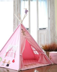 SOABE pink gingerman teepee kids teepee Indian tent by Soabe Little Girls Playroom, Little Girl Rooms, Kids Room, Diy Teepee, Kids Teepee Tent, Tipi Tent, Table Tents, Kids Decor, Kids House