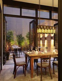 Eat // love the wine bottle lights at Bar Bambino http://www.barbambino.com/