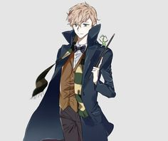 Surprisingly Newt looks less attractive as an anime character :I Art Harry Potter, Mundo Harry Potter, Harry Potter Anime, Harry Potter Universal, Harry Potter Fandom, Fantastic Beasts Fanart, Fantastic Beasts And Where, Scorpius And Rose, Hogwarts