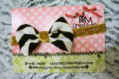 black white gold chevron headband bow headband by BBMCreations