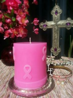 Run Walk Remember Candle  #breastcancerawareness #runwalkremember #breast #pinkribbons #pinkbracelet