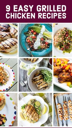 Browse our collection of our 9 Easy Grilled Chicken Breast Recipes!  Everything from chicken skewers, to chicken tacos to chicken with amazing salsas and relishes!  This is easy weeknight grilling at it's finest!  Though, you'll want to grill these on weekends too! Grilled Fruit, Grilled Beef, Grilled Vegetables, Grilled Chicken Breast Recipes, Best Chicken Recipes, Chicken Skewers, Chicken Tacos, Easy Weeknight Dinners, Grilling Recipes
