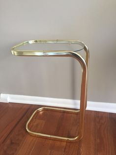 Glass and Brass (tubing)  small side table - Mid Century Modern