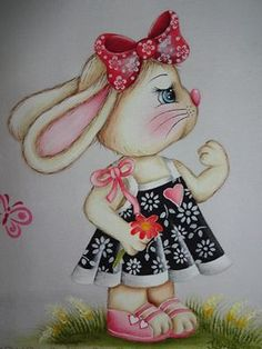 Cute Rabbit 🐰 with Black & White Dress 👗 Tole Painting, Fabric Painting, Painting & Drawing, Easter Paintings, Animal Projects, Animal Cards, Rock Crafts, Painting Patterns, Cute Illustration