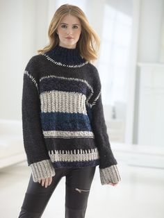 Color Block Sweater (Knit) - Patterns - Lion Brand Yarn
