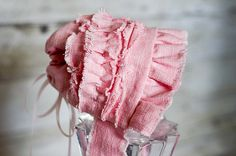 Pink Linen Baby Bonnet Newborn Photography by FeatherRiverBoutique, $25.00