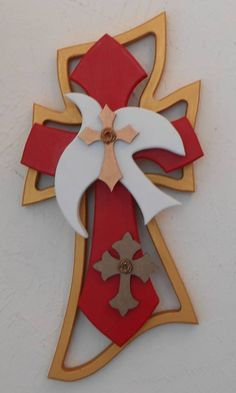 Captivating red and gold with fawn highlights cross by Sheila Haling. #dove #red_gold_brown #unfinished_crosses   Order your unfinished Woodcraft products at www.unfinishedcrosses.com
