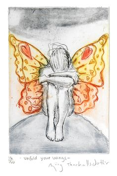 Bjørg Thorhallsdottir - Unfold Your Wings Wings, Sketches, Painting, Art, Kunst, Pictures, Drawings, Craft Art, Painting Art