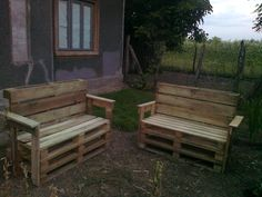 Garden benches from pallets #Bench, #Outdoor, #Pallet
