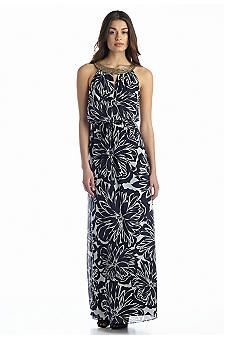 Vince Camuto Printed Halter with Bead Embellishments Maxi Dress