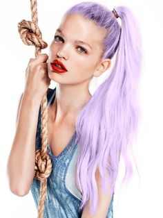 lilac hair. Sadly I think this is photoshop :( I don't think it's very easy to achieve this colour.