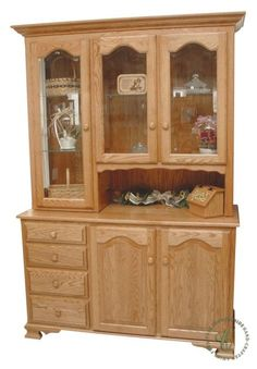 With a clever, offset deck our LaGrange Hutch combines cozy country comfort with pragmatic storage solutions for your dining room or kitchen. Wall Shelves Design, Glass Shelves, Amish Furniture, Custom Furniture, Free Standing Kitchen Units, Wooden Display Cabinets, Quarter Sawn White Oak, White Oak Wood, Hickory Wood