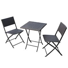 PatioPost 3 Piece Patio Bistro Furniture Set Outdoor Porch PE Wicker Rattan Table and Chairs Brown -- Check out the image by visiting the link.