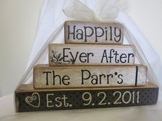 Happily Ever After wooden blocks for wedding or by FayesAttic11, $19.00