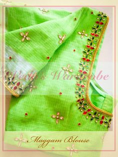 End Customization with Hand Embroidery & beautiful Zardosi Art by Expert & Experienced Artist That reflect in Blouse , Lehenga & Sarees Designer creativity that will sunshine You & your Party. Hand Work Blouse Design, Simple Blouse Designs, Bridal Blouse Designs, Pattu Saree Blouse Designs, Maggam Work Designs, Designer Blouse Patterns, Dress Patterns, Mirror Work Blouse, Aari Embroidery