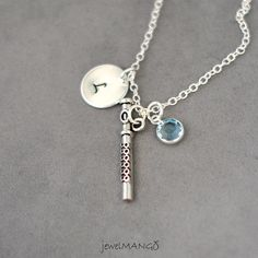 Initial Necklace Silver flute charm Personalized by JewelMango