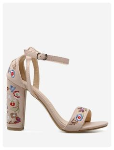 25a5d9f866e Block Heel Embroidered Sandals (Apricot)