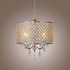 Drum Chandelier Crystal Modern 4 Lights – GBP £ 104.99