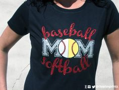 BASEBALL SOFTBALL MOM, sparkly baseball and softball glitter shirt\