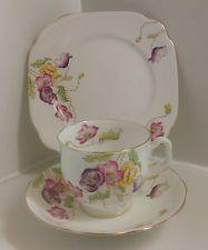 Royal Albert Crown Art Deco ,Hand Painted English Bone China Tea Set Trio.