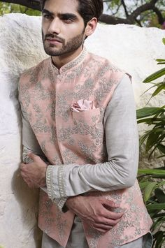 Shop Anushree Reddy - Men Embroidered Bundi With Kurta & Churidar , Exclusive Indian Designer Latest Collections Available at Aza Fashions Engagement Dress For Groom, Groom Wedding Shoes, Couple Wedding Dress, Indian Wedding Clothes For Men, Wedding Kurta For Men, Indian Wedding Outfits, Wedding Suits, Mens Indian Wear, Mens Ethnic Wear