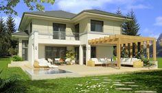 Projekt domu piętrowego Kastylia A 2-garaże o pow. 161,4 m2 z obszernym garażem, z dachem namiotowym, z tarasem, z wykuszem, z antresolą, sprawdź!
