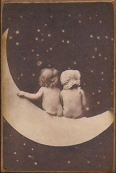 Wood Magnet Paper Moon  Baby  Babies Vintage by MyFathersHouse4, $4.00