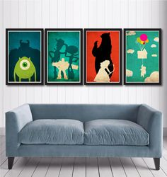 Disney Pixar movie poster set by MINIMALISTPRINTS on Etsy, $40.00  These are just so awesome!