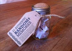 Great homemade gift idea for my mother's 75th birthday.  I wrote our 21 different childhood memories, each about 3 sentences long, folded them on paper and put them a Mason jar. Made the homemade tag with recommended dosage and a happy birthday...