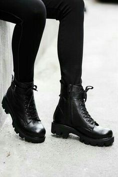 Milla by trendyol · Ayakkabı & Çanta – Hakiki Deri Siyah Bot … Shoe Boots, Shoes Heels, Shoe Bag, Cute Shoes, Me Too Shoes, Mode Grunge, Timberland Boots, Leather Boots, Korean Fashion