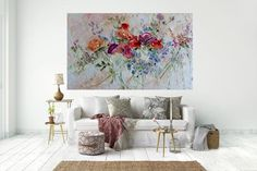 Large Art Big Painting Large Poster Flowers Oil Painting Peonies Roses Lilac Ginger Red Blue Turquoise Cipria Art Cottage Home Wall Print Ha Modern Canvas Art, Modern Art Deco, Watercolor Art Paintings, Oil Painting Flowers, Apartment Interior, Living Room Interior, Living Rooms, Cherry Blossom Wallpaper, Artwork For Living Room