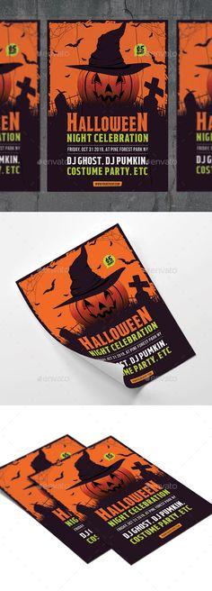 Halloween Flyer by RockGasm Halloween Party Flyer, Halloween Poster, Halloween Design, Happy Halloween, Print Templates, Flyer Template, Flyer Design, Orange Party, Behance