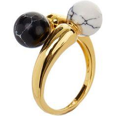 Noir šperky Gold-Tone Black and White Ring