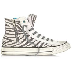 Converse Limited Edition All Star High-top Animal Printed Canvas Zip... (220 AUD) ❤ liked on Polyvore featuring shoes, sneakers, converse, zapatos, sapatos, white, animal trainer, canvas high tops, converse shoes and canvas lace up sneakers