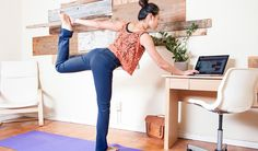 soft dressing Yoga pants girl does yoga at computer desk