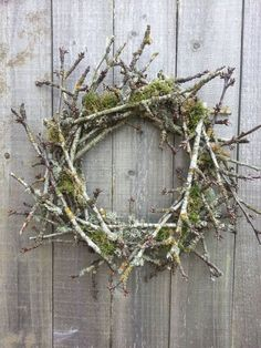 Natural twig and moss wreath by on Etsy. would also be very pretty with a craft made bird nest on the bottom inside of the wreath. Moss Wreath, Twig Wreath, Stick Wreath, Christmas Crafts, Christmas Decorations, Holiday Decor, Xmas Wreaths, Nature Decor, Bunting