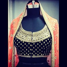 embroidered blouse with coral dupatta