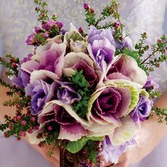 Call even more attention to a lavender dress with a bouquet in richer tones, like this one made of anemones, ornamental cabbage, wax flowers and clematis leaves; June Wedding Flowers, Aqua Wedding, Bridal Flowers, Flower Bouquet Wedding, August Wedding, August Flowers, Wax Flowers, Unique Flowers, Pretty Flowers