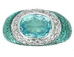 Baby-Blue Enamel W/Blue Topaz and Diamonds Hidalgo Ring